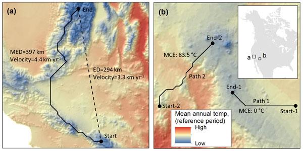 Figure 1. Climate trajectories and minimum cumulative exposure (MCE)