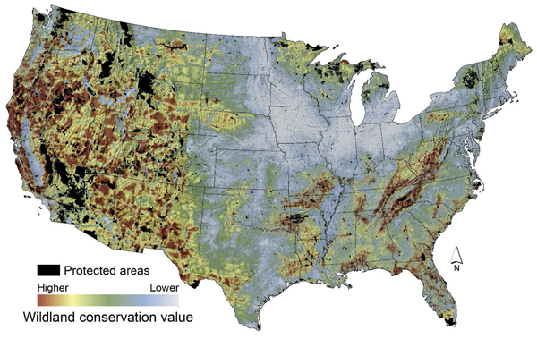 Wildland Conservation Values Of The Contiguous US AdaptWest - Us priority map