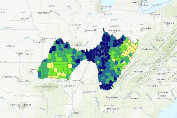 Duck Energy Days in the Central Hardwoods BCR by County | Northeast CPA