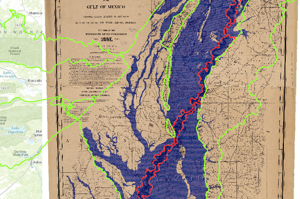 Lower Mississippi River Map circa 1899 | Gulf Coastal Plains and ...