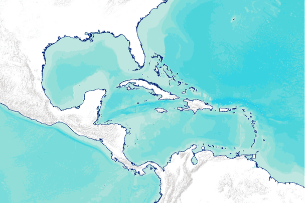 World Vector Shoreline Of The Gulf Of Mexico And Caribbean Sea