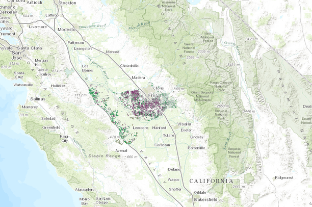 Map Of California Fresno.Fruit And Nut Crops In Fresno County California Data Basin