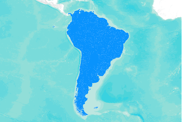 HydroSHEDS (RIV) - South America river network (stream lines) at 30s ...