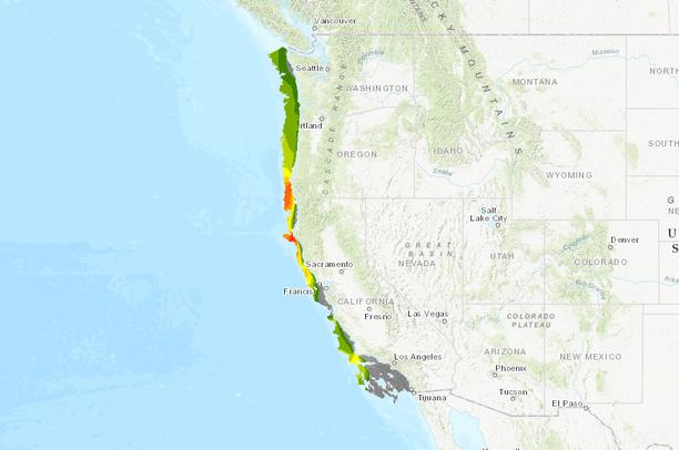 California Offshore Wind Speed to 1100m Ocean Depth