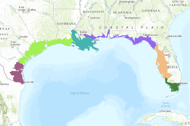 Gulf Coast Vulnerability Assessment Subregions | Data Basin