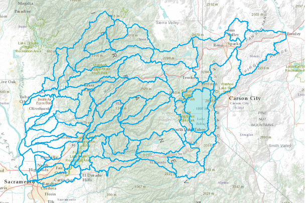 Watersheds of Placer and Nevada Counties CA Data Basin