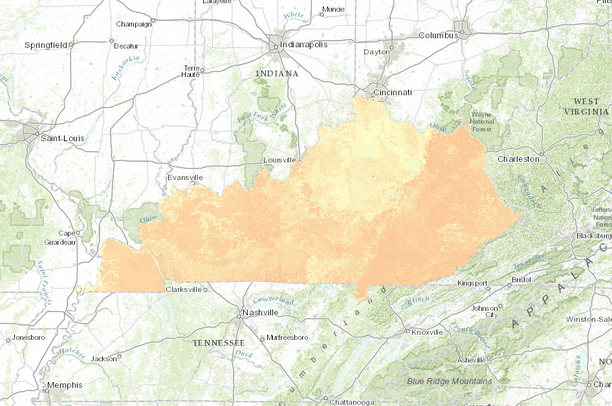 Kentucky On Usa Map.Ssurgo Soil Ph For Kentucky Usa Data Basin