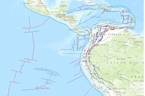 Fault lines in NW South America Data Basin