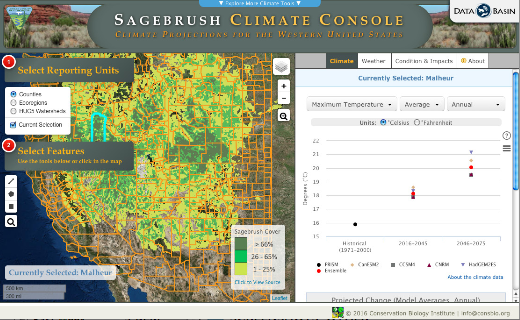 Screenshot of the Climate Console