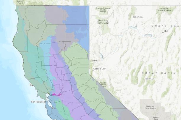 California Ecoregions And County Lines Data Basin