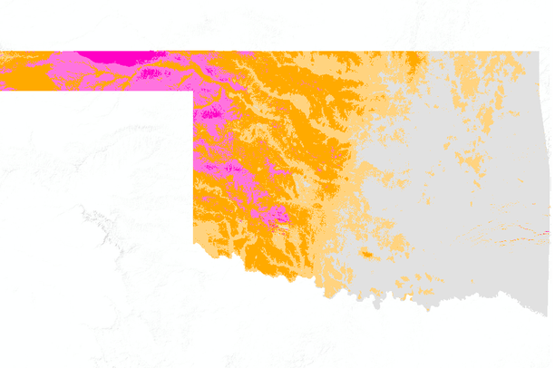 Oklahoma Wind Map.Oklahoma Wind Power Density W M2 At 50 Meters Above Ground Level