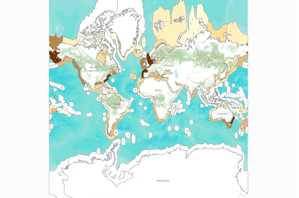 Salt Marsh Abundance by Marine Ecoregion | Data Basin on temperate forest world map, geo world map, true scale world map, open ocean world map, estuary biome world map, madagascar location in world map, atoll world map, tropical forest world map, flight around the world map, intertidal zone world map, coral reef world map, correct size world map, freshwater wetlands world map, mangrove forest world map,