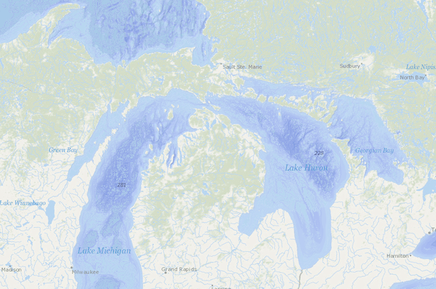 great lakes depth map Great Lakes With Lake Depth Data Basin great lakes depth map