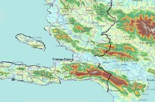 Topographic Map Of Haiti.Elevation Of Haiti And Dominican Republic Approx 1 Km Cells Data