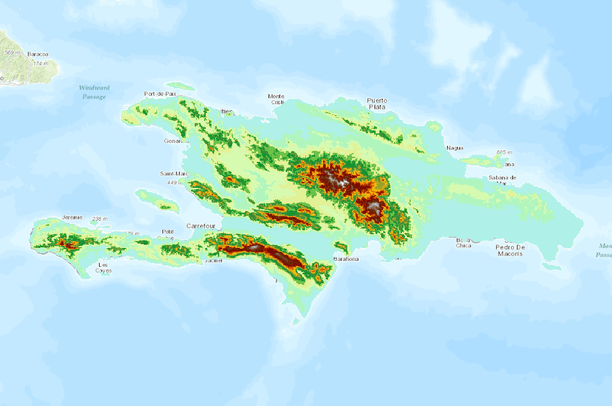 Elevation of haiti and dominican republic approx 1 km cells data elevation of haiti and dominican republic approx 1 km cells gumiabroncs Choice Image