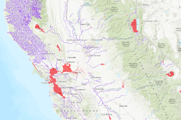 California 303d Listed Waterways Data Basin