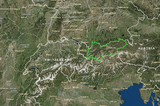 The Alps map. Tyrol state | Data Basin